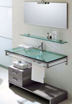 Sample-bathroom-design-with-glass-shelves-sink-mirror-and-gray-drawers-and-cabinets